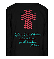 Luke 2:14 Chevron Cross Long Sleeve Relaxed Fit T-Shirt Design XM13 *Choose Your Colors