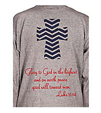 Luke 2:14 Chevron Cross Youth Long Sleeve Relaxed T-Shirt Design XM13 *Choose Your Colors