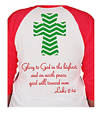 Luke 2:14 Chevron Cross 3/4 Sleeve Raglan Tee Design XM13 *Choose Your Colors
