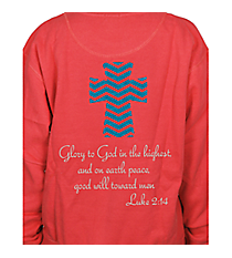Luke 2:14 Chevron Cross Ladies Relaxed Fit Boxy Crew Sweatshirt Design XM13 *Choose Your Colors
