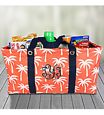Coral Paradise Palms with Navy Trim Collapsible Haul-It-All Basket #YAO8002-CORAL
