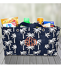 Navy Paradise Palms Collapsible Haul-It-All Basket #YAO8002-NAVY