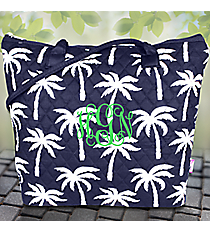 Navy Paradise Palms Quilted Shoulder Bag #YAO1515-NAVY