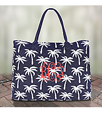 Navy Paradise Palms Quilted Large Shoulder Tote #YAO3907-NAVY