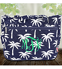 Navy Paradise Palms Quilted Shoulder Tote #YAO594-NAVY