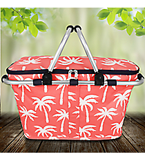 Coral Paradise Palms Collapsible Insulated Market Basket with Lid #YAO658-CORAL