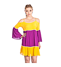 Kiss The Quarterback Colorblock Dress, Yellow and Purple #C7108 *Choose Your Size