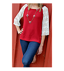 Touch of Lace Top, Burgundy #YO-YT0562 *Choose Your Size