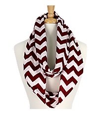 Burgundy and White Chevron Loop Scarf #Z589-BUR