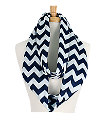 Navy and White Chevron Loop Scarf #Z589-NAVY