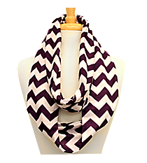 Purple and White Chevron Loop Scarf #Z589-PURPLE