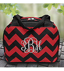 Red and Black Chevron Insulated Bowler Style Lunch Bag #ZCM255-RED/BK