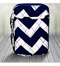 Royal Blue Chevron Quilted Wristlet #ZCM495-ROY/NAVY