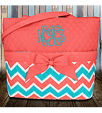 Coral and Aqua Chevron Quilted Diaper Bag with Coral Trim #ZCT2121-CORAL