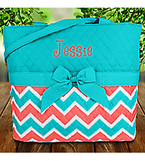 Coral and Aqua Chevron Quilted Diaper Bag with Turquoise Trim #ZCT2121-TURQ