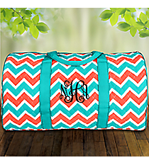 "21"" Coral and Aqua Chevron Quilted Duffle Bag with Turquoise Trim #ZCT2626-TURQ"