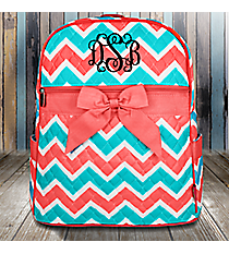 Coral and Aqua Chevron Quilted Backpack with Coral Trim #ZCT2828-CORAL