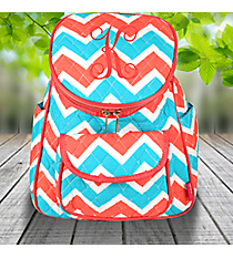 Coral and Aqua Chevron Quilted Petite Backpack with Coral Trim #ZCT286-CORAL