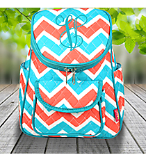 Coral and Aqua Chevron Quilted Petite Backpack with Turquoise Trim #ZCT286-TURQ