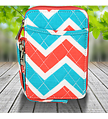 Coral and Aqua Chevron Quilted Wristlet #ZCT495-CORAL