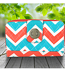 Coral and Aqua Chevron Quilted Organizer Clutch Wallet #ZCT517-CORAL