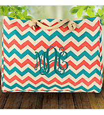 Large Coral and Aqua Chevron Jute Shoulder Tote #ZCT634-MULTI
