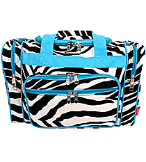 "17"" Zebra Duffle Bag with Turquoise Trim #ZEB417-TURQ"