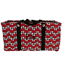 Houndstooth Chevron Collapsible Haul-It-All Utility Basket with Black Trim #ZH401-BLACK