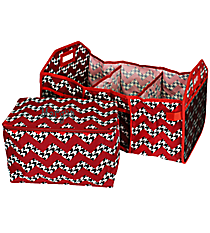 Houndstooth Chevron Utility Storage Tote with Insulated Bag with Red Trim #ZH516-RED