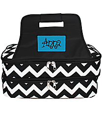 Black Chevron Insulated Double Casserole Tote #ZIB391-BLACK