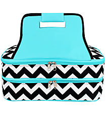 Black Chevron Insulated Double Casserole Tote with Aqua Trim #ZIB391-AQUA