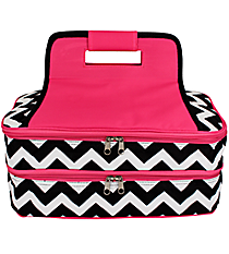 Black Chevron Insulated Double Casserole Tote with Hot Pink Trim #ZIB391-H/PINK