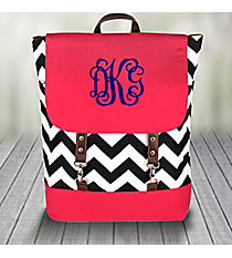 Black Chevron Backpack with Hot Pink Trim #ZIB650-H/PINK