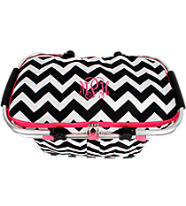 Black Chevron and Hot Pink Collapsible Insulated Market Basket with Lid #ZIB658-H/PINK