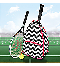 Black Chevron Tennis Backpack with Hot Pink Trim #ZIB734-HPINK