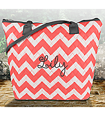 Coral Chevron Quilted Shoulder Bag with Gray Trim #ZIC1515-CORAL