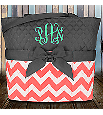 Coral Chevron Quilted Diaper Bag with Gray Trim #ZIC2121-CORAL