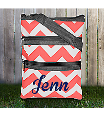 Coral Chevron Crossbody Bag with Gray Trim #ZIC231-CORAL