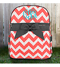 Coral Chevron Quilted Backpack with Gray Trim #ZIC2828-CORAL