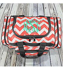 """17"""" Coral Chevron Duffle Bag with Gray Trim #ZIC417-CORAL"""