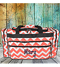 """20"""" Coral Chevron Duffle Bag with Gray Trim #ZIC420-CORAL"""