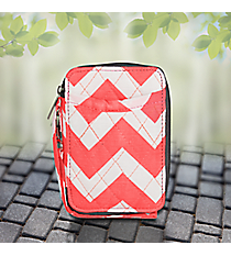 Coral Chevron Quilted Wristlet #ZIC495-CORAL