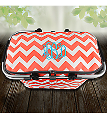 Coral Chevron Collapsible Insulated Market Basket with Lid #ZIC658-CORAL