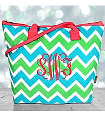 Lime and Turquoise Chevron Quilted Shoulder Bag with Coral Trim #ZID1515-CORAL