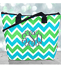 Lime and Turquoise Chevron Quilted Shoulder Bag with Navy Trim #ZID1515-NAVY