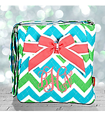 Lime and Turquoise Chevron Quilted Crossbody with Coral Trim #ZID1717-CORAL