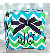 Lime and Turquoise Chevron Quilted Crossbody with Navy Trim #ZID1717-NAVY
