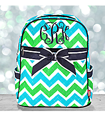 Lime and Turquoise Chevron Quilted Backpack with Navy Trim #ZID2828-NAVY