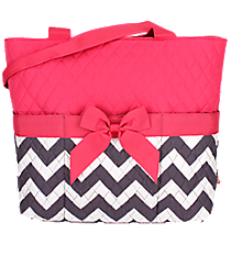Gray Chevron Quilted Diaper Bag with Hot Pink Trim #ZIG2121-HPINK