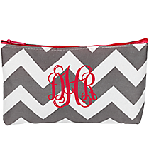 Gray Chevron with Hot Pink Trim 3-Piece Nesting Cosmetic Set #ZIG229-H/PINK